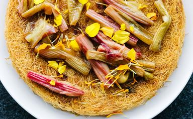 Custard baked in shredded filo with poached rhubarb