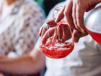 Rose water and prosecco spritz