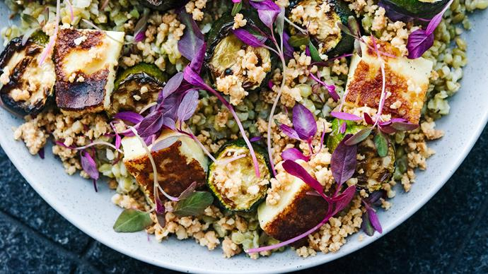 Warm salad of freekeh, roasted courgettes, macadamia and haloumi