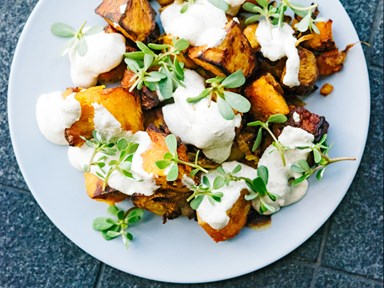 Slow-roasted pumpkin with toasted fennel seed and labneh dressing