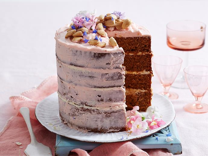 "Decorated with an easy 'naked' butter cream frosting, vienna almonds and a sprinkle of edible flowers, this [four-layer caramel mud cake](https://www.womensweeklyfood.com.au/recipes/caramel-mud-layer-cake-2175|target=""_blank"") will make an eye-catching centrepiece at any event. Simply stunning!"