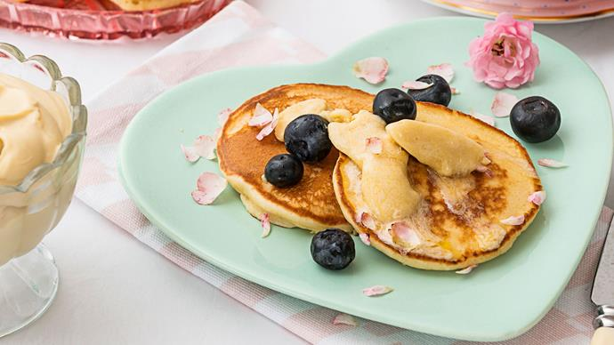 Pikelets with maple butter and blueberries