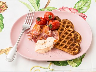 Potato and parmesan waffles with tomatoes, bacon and spicy mayo