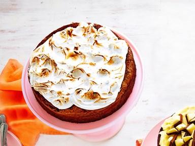 Marble and choc-flecked Italian meringue cake