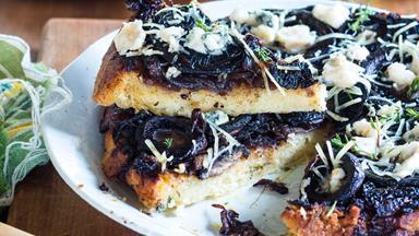 Mushroom and onion tart