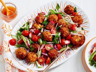 warm prawn ball salad recipe