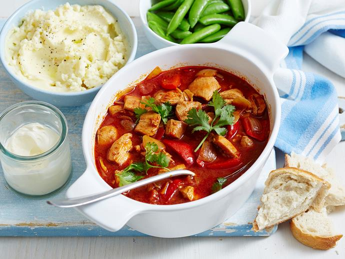 """With a classic, [paprika-spiced chicken goulash](https://www.womensweeklyfood.com.au/recipes/hungarian-chicken-2192