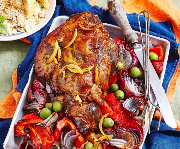 Roast lamb with preserved lemon