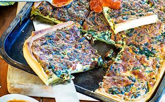 Spinach and cheese tray bake
