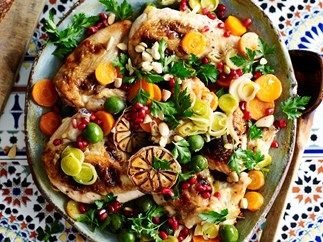 braised chicken with sherry and green olives recipe
