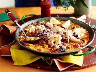 saffron rice with seared squid recipe
