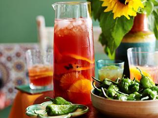 Orange and pomegranate sangria