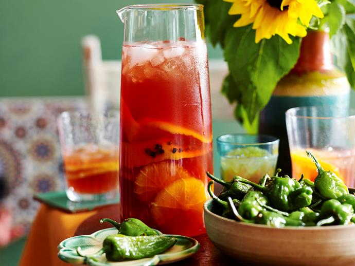 "**[Orange and pomegranate sangria](https://www.womensweeklyfood.com.au/recipes/orange-and-pomegranate-sangria-2241|target=""_blank"")**  You'll have to start this one up to 12 hours ahead but the wait will be worth it! Just one taste of this beautiful white Summer sangria and you'll be transported straight to the beaches of Barcelona."