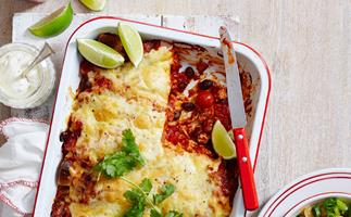 Spicy mince and bean enchiladas with tomato salsa
