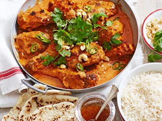 Butter chicken curry with green chilli and cashews