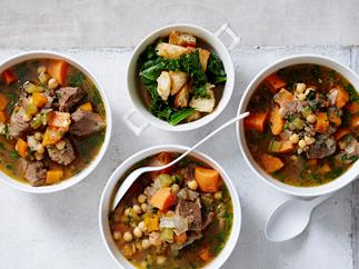 spiced chickpeas, kumara and beef soup recipe