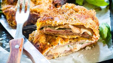 Easy beef schnitzel stuffed with ham and cheese
