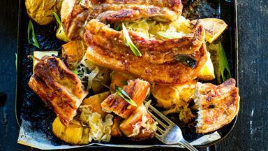 Caramelised pork with sauerkraut and sage roast vegetables