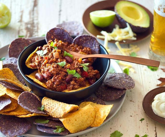 Chocolate chilli beef nachos