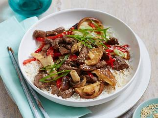 beef with mixed mushrooms and sesame recipe