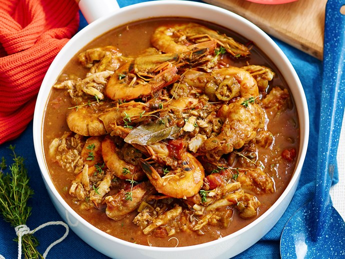 One-pot Louisiana chicken and seafood stew