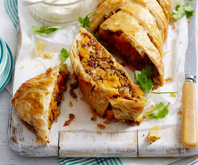 Moroccan pumpkin and lamb plait