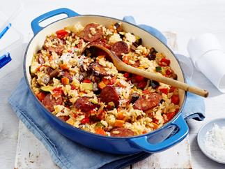 roasted vegetable and chorizo risotto recipe