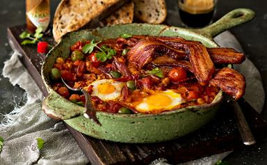 Fred's eggy bean one-pan breakfast with bacon