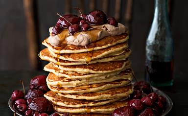 Buckwheat buttermilk pancakes with maple-soaked plums and cherries