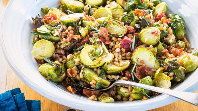 Brussels sprouts with farro, prosciutto and rosemary