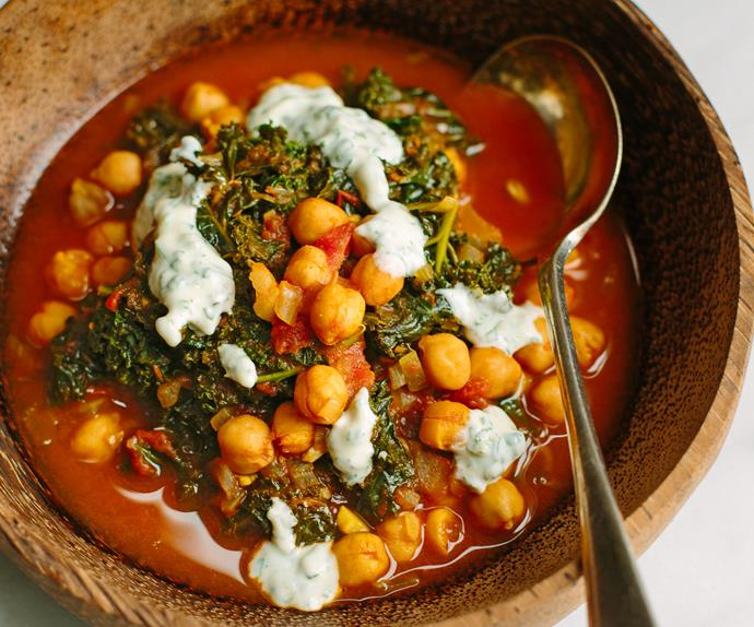 Chickpea, tomato and kale stew with herbed yoghurt