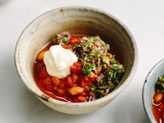 Spicy bean stew with red onion salsa