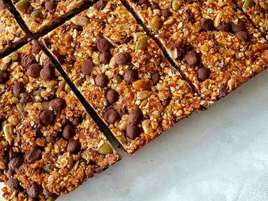 Seedy choc chip muesli bars