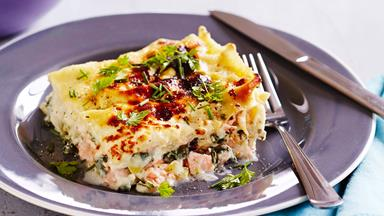 Creamy salmon and spinach lasagne