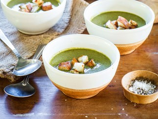 Green goddess spinach and hazelnut soup