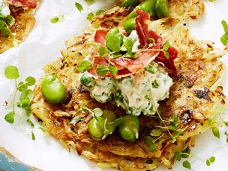rosti stack with ricotta pea smash recipe