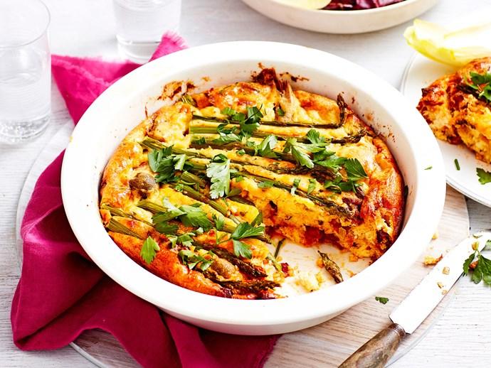 Crustless quiche with chorizo, feta and antipasto veges