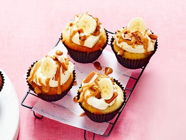 Banoffee banana cupcakes with caramel filling