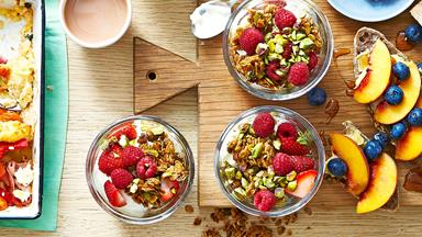 Mixed berry and yoghurt muesli breakfast parfait