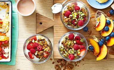 Mixed berry and yoghurt muesli breakfast parfait