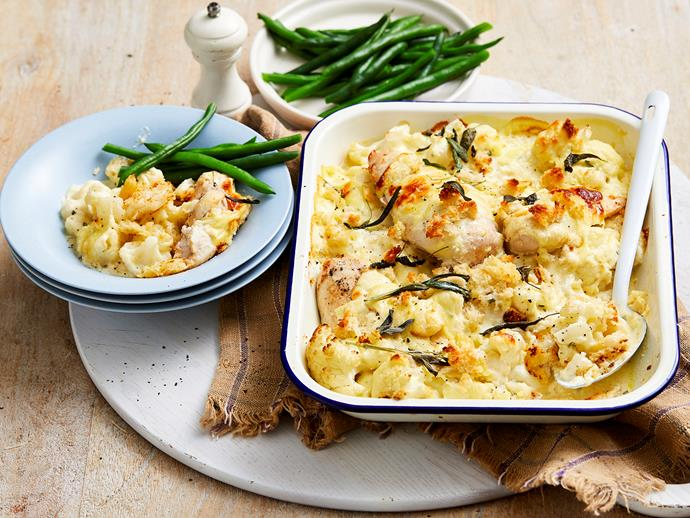 """Quick, easy and utterly delicious, this creamy [cauliflower and chicken bake](https://www.womensweeklyfood.com.au/recipes/creamy-cauliflower-and-chicken-bake-2323