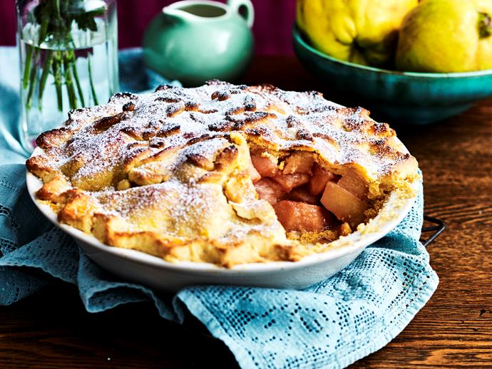 """[Blushing quince pie](https://www.womensweeklyfood.com.au/recipes/blushing-quince-pie-2340
