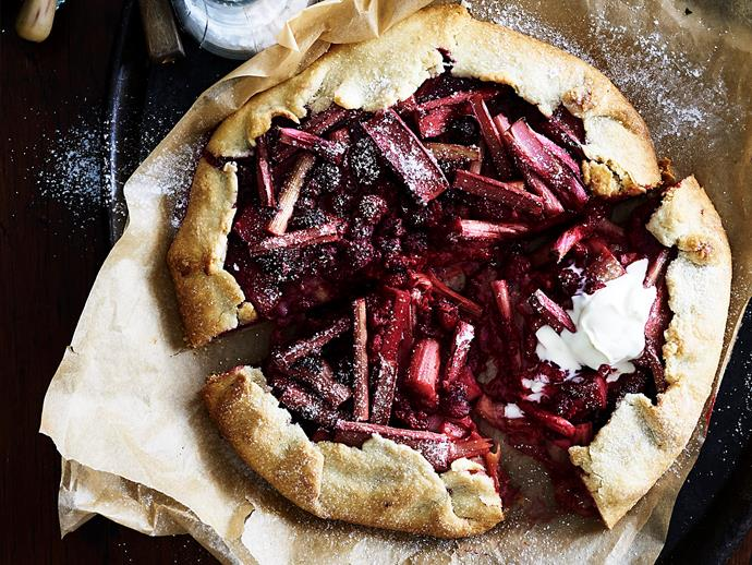 """**[Rhubarb and raspberry crostata](https://www.womensweeklyfood.com.au/recipes/rhubarb-and-raspberry-crostata-2341