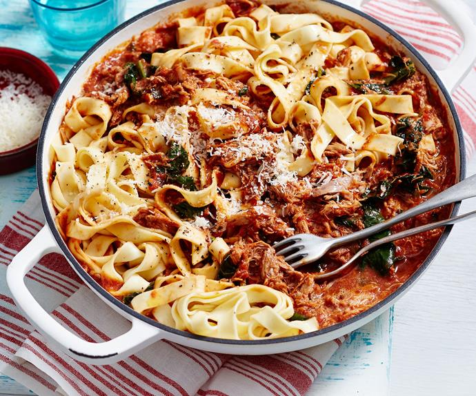 Pork shoulder ragu with fettuccine