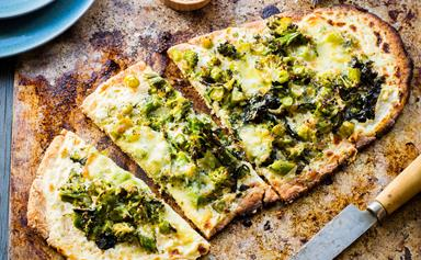 Broccoli and three-cheese gluten-free pizza