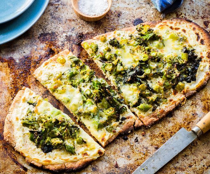 Broccoli three-cheese pizza