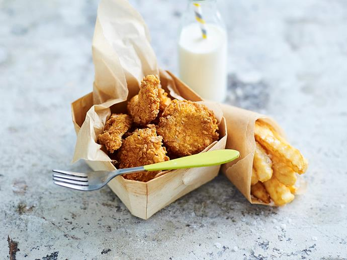 "**[Quick chicken nuggets](https://www.womensweeklyfood.com.au/recipes/quick-chicken-nuggets-2354|target=""_blank"")**  Moist chicken breast chunks with a crunchy coating will be popular with adults and kids alike and you'll know exactly what's in them!"