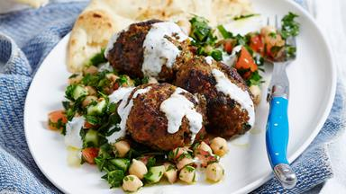 Lamb mince kofta rissoles with chickpea tabbouleh