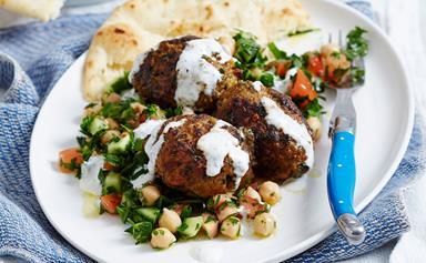 Lamb mince kofta rissoles with chickpea tabbouleh