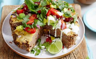 Mexican meatloaf pie with salsa
